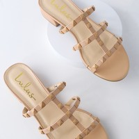 Mckenzie Nude Studded Slide Sandals