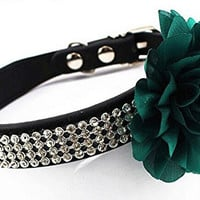 Adjustable Pet Dog Cat Leather Buckle Collar 4 Rows Bling Diamond Rhinestone With Big Flower Style M,Green Flower