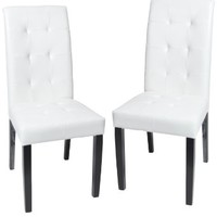 Roundhill Solid Wood Leatherette Padded Parson Stitches Design Chair, White, Set of 2
