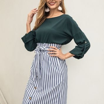 Solid Roll-Up Sleeve Blouse