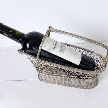 Vintage French Silver-Plated, Quality Wine Bottle Basket / Pourer / Cradle, Home Decor