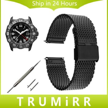 22mm Milanese Watchband Quick Release Strap for Luminox Sea Land Air Men Women Watch Band Stainless Steel Bracelet Black Silver