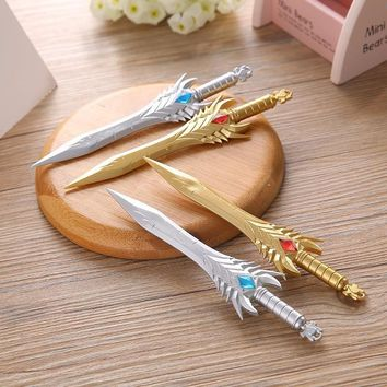 1 PCS Creative Cross Fire Knife Sword Gel Ink Pen Promotional Stationery School Office Writing Pens Student Gift