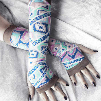 Sleeping Spirit Arm Warmers - Lavender Purple Royal Sky Blue Mint Pink Taupe Pastel Tribal Aztec Cotton - Yoga Gothic Light Spring Cycling