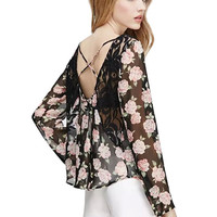 Black Backless Long Sleeve Floral Print Chiffon Top