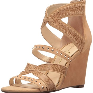 Jessica Simpson Women's Zenolia Wedge Sandal Sand Castle 6 B(M) US '