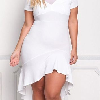 White Draped Grenadine Cut Out Plus Size High-low Banquet Formal Midi Dress
