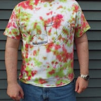 Tie Dye Hamburger Tshirt, adult XL- Fast Food Shirt- Burger Shirt- Hot Dog T Shirt- XL Tiedye- Fathers Day- Junk Food- BBQ Shirt
