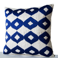 Decorative Throw Pillow -Royal Blue Pillows- White Silk Blue Ikat Embroidered Pillow- Accent Pillows- 16x16- Couch Pillow- Gift- Ikat Pillow