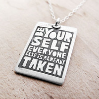 Motivational quote necklace silver Be Yourself by lulubugjewelry