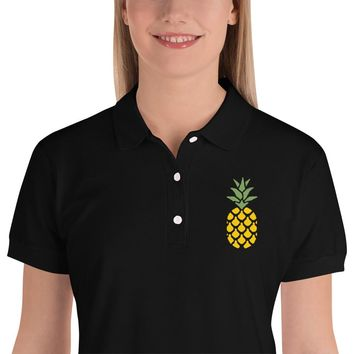 Lovely Pineapple Embroidered Women's Polo Shirt