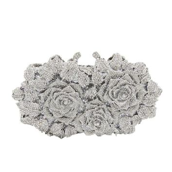 Flower Hollow Out Crystal Box Clutch Bag