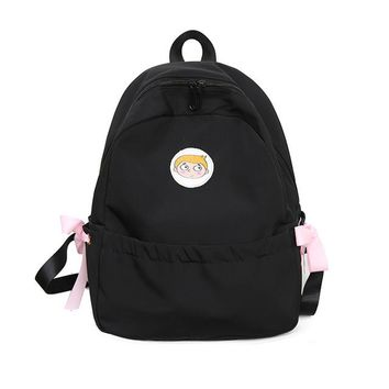 Student Backpack Children MENGHUO Bow Cute Canvas Solid Color Schoolbag for Student Girls Ribbons Women Backpack Fashion Backpack Student Rucksack Mochila AT_49_3