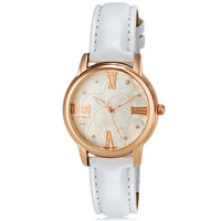 MITINA M-166L Women's Crystal Rhinestone Decorated Dial Japan Movement Quartz Wrist Watch with Roman Numerals & Faux Leather Strap (White)