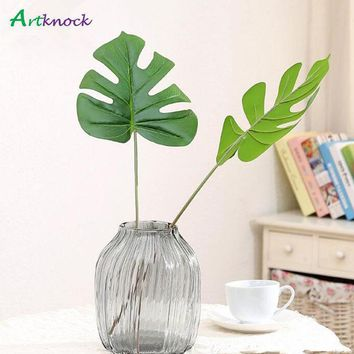 15Pcs Vivid Plastic Artificial Palm tree Monstera leaf greenery plants flores Home wedding decoration fake Flowers plant Leaves