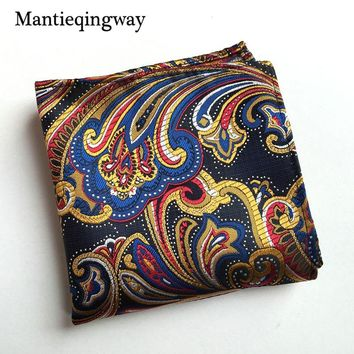 Vintage Men's Paisley Handkerchief Pocket Floral Pocket Square Business Chest Towel Hanky 25cm*25cm Gentlemen Suit Hankies