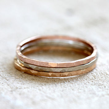 14k gold hammered stacking rings set of 3 rings