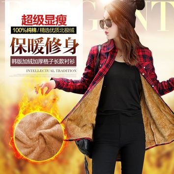 2017 the new lady and flannel shirts winter jacket women long warm leisure thickening coat long-sleeved plaid shirt