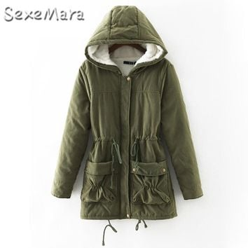 Winter Jacket Women 2017 Long Jacket Thick Warm Cotton Down Jacker Outwear Parkas Lamb's Wool Hooded Jacket Size 2XL