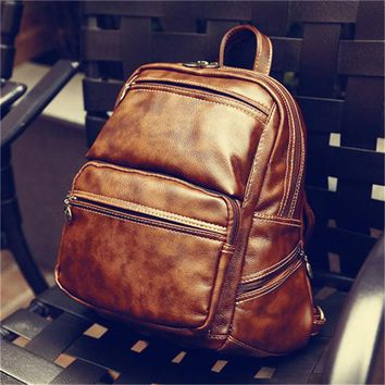 School Backpack New PU Leather Vintage Girl School Women Backpack Female Fashion Rucksack Brand Designer Ladies Back Bag High Quality School Bag AT_48_3