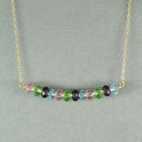 Beautiful Multi Colored Crystal Beads Necklace, Wired Beads, 14K Gold Filled Chain, Wonderful Jewelry