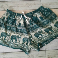 Green Elephant Shorts Print Boho Hobo Beach fashion Styles Hippie Summer Hipster Exotic Elegant Clothing Aztec Ethnic Bohemian Ikat Beach