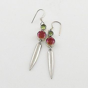 Alexandrite & Peridot Sterling Silver Earrings