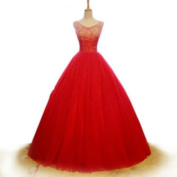 Red Bridal Gowns Beading Sequined Wedding Dress Tulle Sleeveless V Neck Wedding Ball Gown