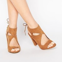 New Look Tie Back Suedette Block Heel
