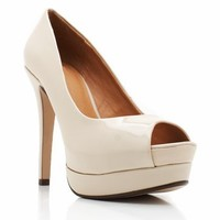 peep-toe patent leather heels in BEIGE - Heels | GoJane.com
