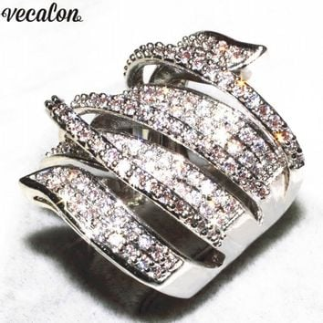 Vecalon Handmade Big Cross Ring 170pcs 5A Zircon Cz 925 Sterling Silver Engagement Wedding Band rings for women Bridal Gift