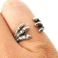 Double Raven Claw Animal Bird  Shaped Wrap Around Ring in Silver