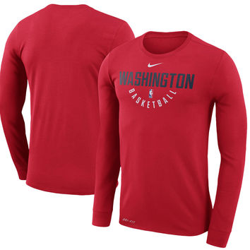 Men's Washington Wizards Nike Red Practice Long Sleeve Performance T-Shirt