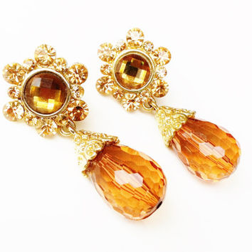 Amber Bead Earrings, Vintage Victorian, Drop Dangle Earrings, Huge Amber Rhinestones, Brown and Gold, Bride Jewelry, Pierced Earrings