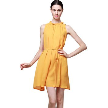 2018 Summer Vintage Boho Elegant Yellow Chiffon Dress Women Short mini Sleeveless Loose Beach Dress Casual Vestidos with belt