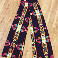 Black Palazzo Pants with Aztec Print