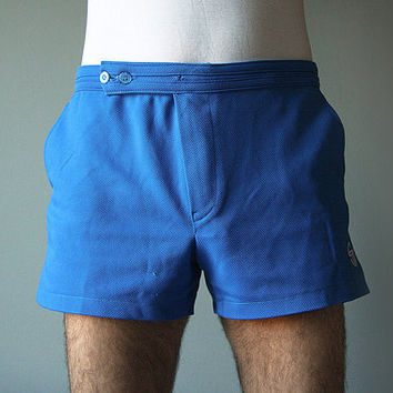 Blue Sergio Tacchini men tennis shorts original Italian 80s vintage