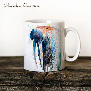 Walrus Mug Watercolor Ceramic Mug Elephant Unique Gift Coffee Mug Animal Mug Tea Cup Art Illustration Cool Kitchen Art Printed mug