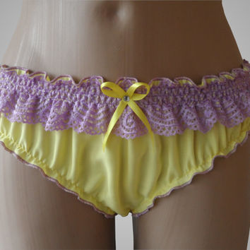 Yellow Cotton Ruffled Panties - Handmade