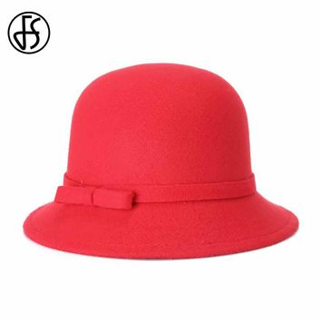 FS New Winter Bowler Fedora Hat For Woman Elegant Bowknot Wide Brim Red Bucket Hat Chapeu Feminino Cloche Cap Cappello Rose