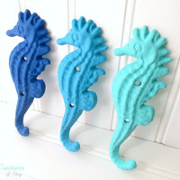 20% OFF Set of 3 True Blue Calypso Bahama Cast Iron Seahorse Hooks- Nautical Decor, Nautical Bathroom, Beach Decor, Coastal Decor, Beach Hoo