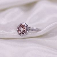 Round Morganite Ring 0.32ct Pave Diamonds Solid 14K Rose Gold Wedding Ring Engagement Ring/ Promise Ring/ Anniversary Ring/Halo Ring