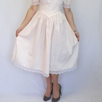 Vintage 80s Jessica McClintock Gunne Sax Size 7 Pink Lace Collar Sailor Dress Bridesmaid Victorian Little Bo Beep Southern Belle Lolita