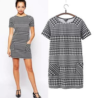 Stylish Round-neck Short Sleeve Print With Pocket Women's Fashion Skirt One Piece Dress [5013253572]