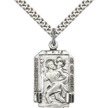 "Men's Sterling Silver Saint Christopher Medal 1 x 5/8 Pendant Necklace 24"" Chain"