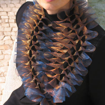 wedding stole bridal shrug Organza wrap bolero, Blue and bronze stole bridal and bridesmaid accessory, reception dresses acessories neckwarm
