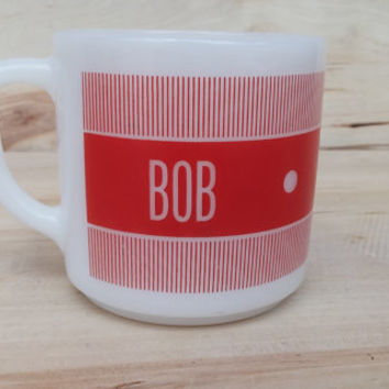 Father's Day Vintage Mid Century Milk Glass Coffee Tea Diner Mug Name Personalized BOB Robert Federal Glass Red White Kitchen
