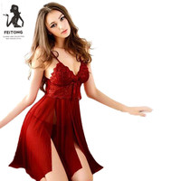 Feitong Sexy Thongs Gauze Lace pijama Nightie Sleepwear for Women Ladies With G-string black Lingerie Nightgown Ropa Mujer
