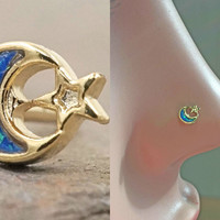 Moon and Star 14kt Gold Nose Ring