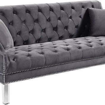 Roxy Grey Velvet Sofa